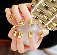 Накладные зеркальные ногти, хром эффект золото