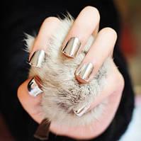 Накладные зеркальные ногти, хром эффект серебро