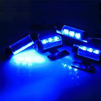 4x3 LED подсветка салона автомобиля мощная синяя (4 светильника)