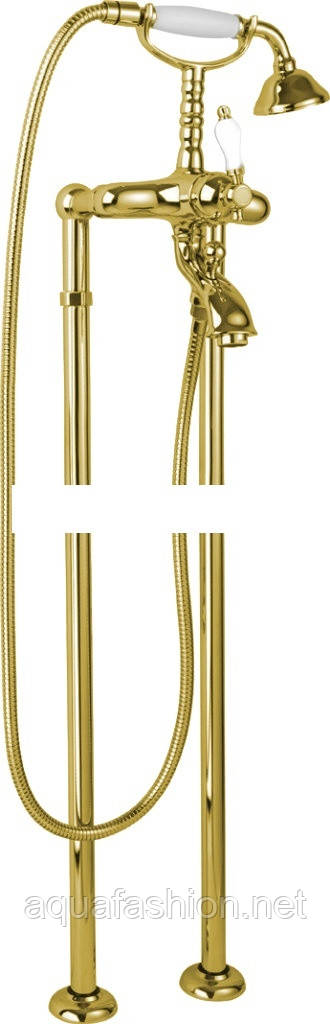 золотой классический смеситель напольный bugnatese oxford