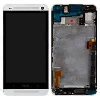 Дисплей для мобильного телефона HTC One M7 Dual Sim 802w , белый, с передней панелью, с сенсорным экраном