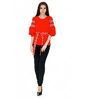 Вышитая женская рубашка с четвертным рукавом красная М-218, фото 1
