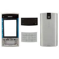 Корпус для мобильного телефона Nokia X3-00, high-copy, серебристый, с клавиатурой