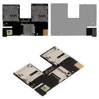 Коннектор SIM-карты для мобильного телефона HTC Desire 500 Dual Sim , на две SIM-карты, с коннектором карты памяти, со шлейфом