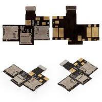 Коннектор SIM-карты для мобильного телефона HTC Desire 200, на две SIM-карты, с коннектором карты памяти, со шлейфом