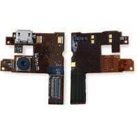 Шлейф для мобильного телефона Nokia 6500c, динамика, коннектора зарядки, с компонентами, с камерой