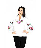 Вышитая женская рубашка белая «Розовые розы» М-220-1
