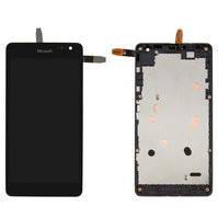 Дисплей для мобильного телефона Microsoft (Nokia) 535 Lumia Dual SIM, черный, с сенсорным экраном, с рамкой, #CT2C1607FPC-A1-E