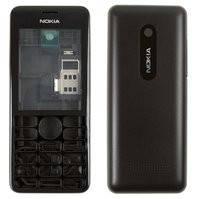 Корпус для мобильного телефона Nokia 206 Asha, high-copy, черный