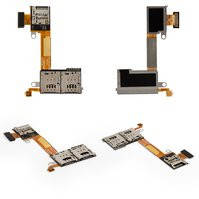 Коннектор SIM-карты для мобильного телефона Sony D2302 Xperia M2 Dual, на две SIM-карты, со шлейфом, с коннектором карты памяти