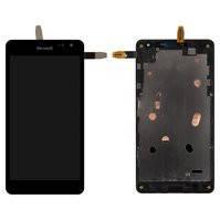 Дисплей для мобильного телефона Microsoft (Nokia) 535 Lumia Dual SIM, черный, с сенсорным экраном, с рамкой, #CT2S1973FPC-A1-E