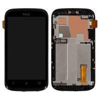 Дисплей для мобильного телефона HTC T328w Desire V, черный, с сенсорным экраном, с передней панелью