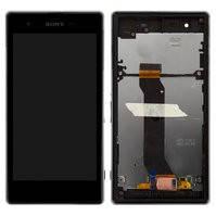 Дисплей для мобильного телефона Sony C6916 Xperia Z1s, черный, с сенсорным экраном, с рамкой, original (PRC)