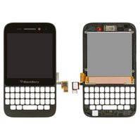 Дисплей для мобильного телефона Blackberry Q5, черный, с сенсорным экраном, с передней панелью