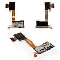 Коннектор SIM-карты для мобильных телефонов Sony D2303 Xperia M2, D2305 Xperia M2, D2306 Xperia M2, для одной SIM-карты, с коннектором карты памяти,
