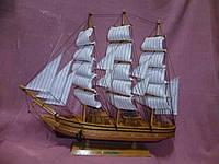 Корабль большой деревянный трехмачтовый сувенир статуэтка 50х45 сантиметров