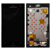 Дисплей для мобильного телефона Sony LT26W Xperia acro S, черный, с сенсорным экраном, с передней панелью