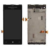 Дисплей для мобильного телефона HTC C620e Windows Phone 8X, черный, с передней панелью, с сенсорным экраном
