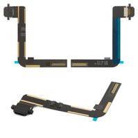 Шлейф для планшета Apple iPad Air (iPad 5), коннектора зарядки, с компонентами, черный