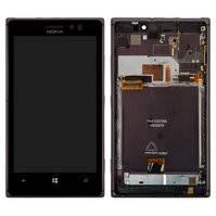 Дисплей для мобильного телефона Nokia 925 Lumia, черный, с сенсорным экраном, с рамкой