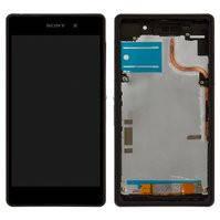 Дисплей для мобильных телефонов Sony D6502 Xperia Z2, D6503 Xperia Z2, черный, с рамкой, с сенсорным экраном, high-copy