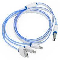 Универсальный USB кабель, 3 в 1, для зарядки телефона, синий, Lightning для Apple, USB 3.0 micro тип-B, 30 pin для Apple, USB тип-A