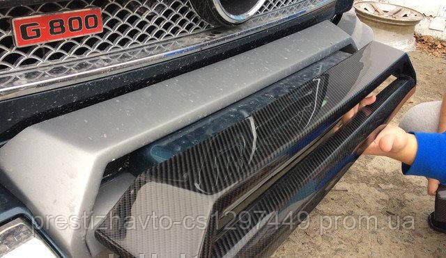 Карбоновая накладка на верхнюю часть бампера (домик) Mercedes G-Сlass W463 AMG