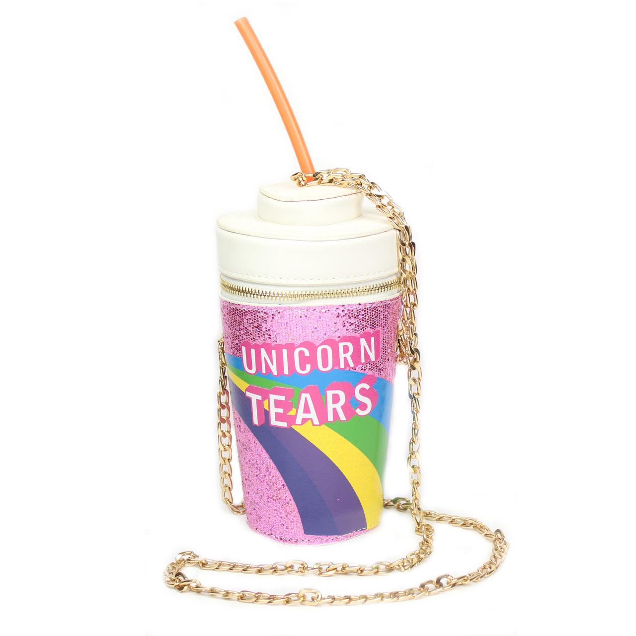 "3D сумочка стакан с трубочкой ""Unicorn Tears"" розовая"