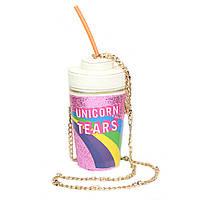 "3D сумочка стакан с трубочкой ""Unicorn Tears"" розовая, фото 1"