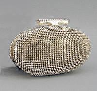 Клатч из камней женский выпускной золотистый Rose Heart 1338