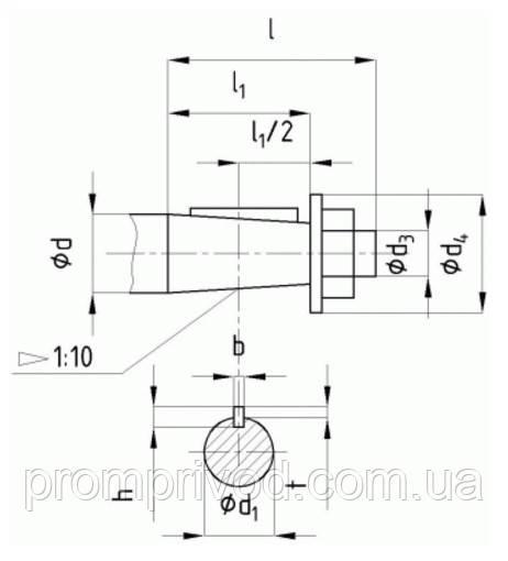 Размеры концов быстроходных валов редуктора РМ-1000