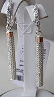 Серьги серебряные с золотыми вставками, фото 1