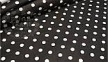 Лоскут ткани №516а  с белым горошком 11 мм на чёрном фоне  размером 45*80см, фото 2