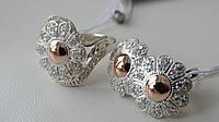 Серьги серебряные с золотыми вставками