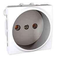 SСHNEIDER ELECTRIC UNICA Розетка без заземления с защитными шторками  под рамку Белая