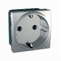 SСHNEIDER ELECTRIC UNICA Розетка с заземлением под рамку Алюминий