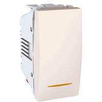 SСHNEIDER ELECTRIC UNICA Выключатель одноклавишный с контрольной подсветкой 1 модуль 10А Слоновая кость
