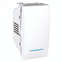 SСHNEIDER ELECTRIC UNICA Выключатель проходной одноклавишный с индикационной подсветкой 1 модуль 10А Белый