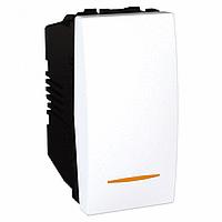 SСHNEIDER ELECTRIC UNICA Выключатель проходной одноклавишный с контрольной подсветкой 1 модуль 10А Белый