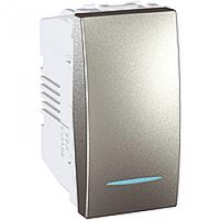 SСHNEIDER ELECTRIC UNICA Выключатель проходной одноклавишный перекрестный с индикационной подсветкой 1 модуль  10А Алюминий