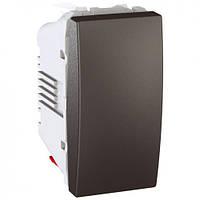 SСHNEIDER ELECTRIC UNICA Выключатель кнопочный одноклавишный 1 модуль 10А Графит