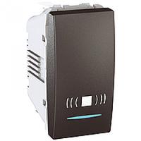 """SСHNEIDER ELECTRIC UNICA Выключатель кнопочный одноклавишныйс индикационной подсветкой и символом """"Звонок""""1 модуль 10А Графит"""
