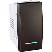 SСHNEIDER ELECTRIC UNICA Выключатель кнопочный одноклавишный с индикационной подсветкой 1 модуль 10А Графит