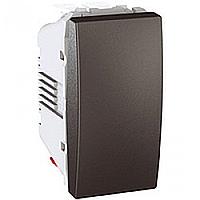 """SСHNEIDER ELECTRIC UNICA Выключатель кнопочный одноклавишный с индикационной подсветкой и символом """"Свет"""" 1 модуль 10А Графит"""