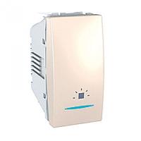 """SСHNEIDER ELECTRIC UNICA Выключатель кнопочный одноклавишный с индикационной подсветкой и символом """"Звонок"""" 1 модуль 10А Слоновая кость"""