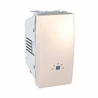 """SСHNEIDER ELECTRIC UNICA Выключатель кнопочный одноклавишный с символом """"Свет"""" 1 модуль 10А Слоновая кость"""