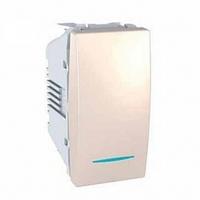 SСHNEIDER ELECTRIC UNICA Выключатель кнопочный одноклавишный с индикационной подсветкой 1 модуль 10А Слоновая кость