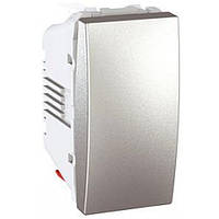 SСHNEIDER ELECTRIC UNICA Выключатель кнопочный одноклавишный 1 модуль 10А Алюминий