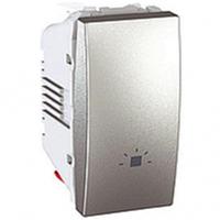 """SСHNEIDER ELECTRIC UNICA Выключатель кнопочный одноклавишный с символом """"Свет"""" 1 модуль 10А Алюминий"""