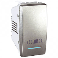 """SСHNEIDER ELECTRIC UNICA Выключатель кнопочный одноклавишный с индикационной подсветкой с символом """"Свет"""" 1 модуль 10А Алюминий"""